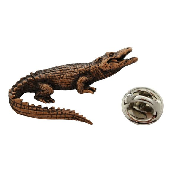 Alligator Reptile Pin ~ Antiqued Copper ~ Lapel Pin ~ Sarah's Treats & Treasures