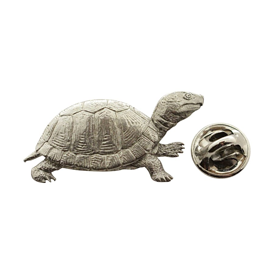 Box Turtle Pin ~ Antiqued Pewter ~ Lapel Pin ~ Sarah's Treats & Treasures