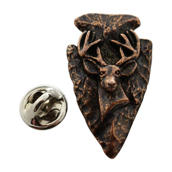 Arrowhead with Buck Pin ~ Antiqued Copper ~ Lapel Pin ~ Sarah's Treats & Treasures
