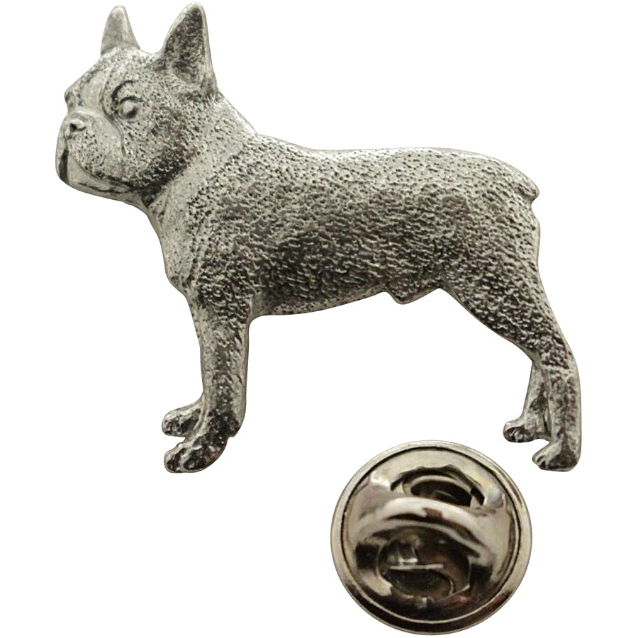 Boston Terrier Pin ~ Antiqued Pewter ~ Lapel Pin ~ Sarah's Treats & Treasures