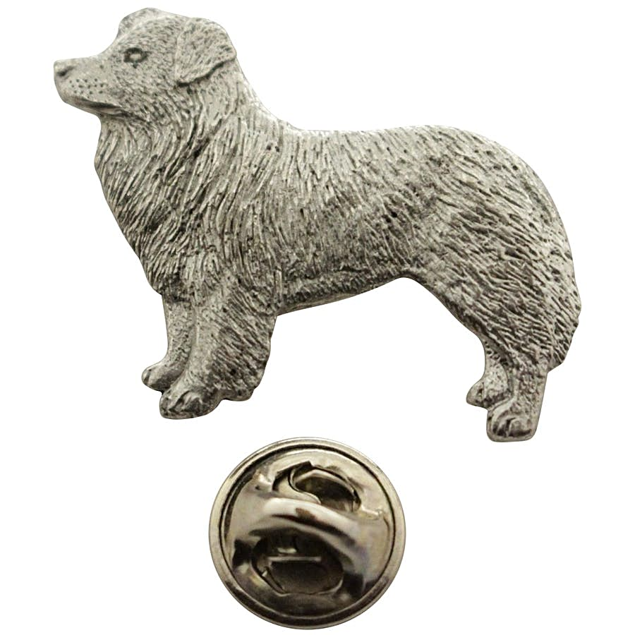Border Collie Pin ~ Antiqued Pewter ~ Lapel Pin ~ Sarah's Treats & Treasures