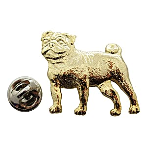 Pug Pin ~ 24K Gold ~ Lapel Pin ~ 24K Gold Lapel Pin ~ Sarah's Treats & Treasures