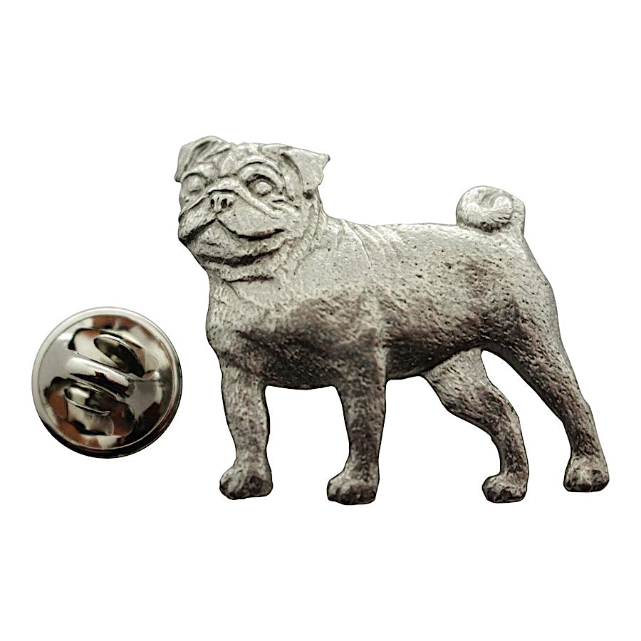 Pug Pin ~ Antiqued Pewter ~ Lapel Pin ~ Sarah's Treats & Treasures