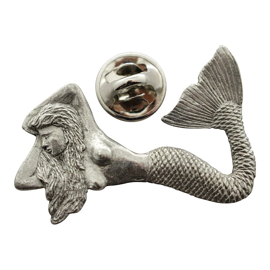Mermaid Pin ~ Antiqued Pewter ~ Lapel Pin ~ Sarah's Treats & Treasures