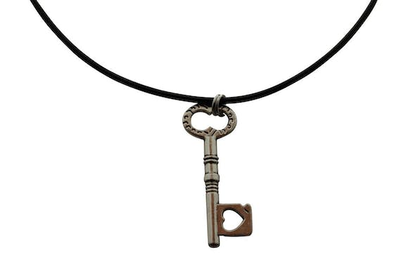 Lovers Heart Necklace ~ Antiqued Silver ~ Key to My Heart Necklace ~ Key To My Heart Necklace ~ Sarah's Treats & Treasures