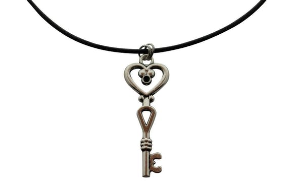 Heart Flower Necklace ~ Antiqued Silver ~ Key to My Heart Necklace ~ Key To My Heart Necklace ~ Sarah's Treats & Treasures