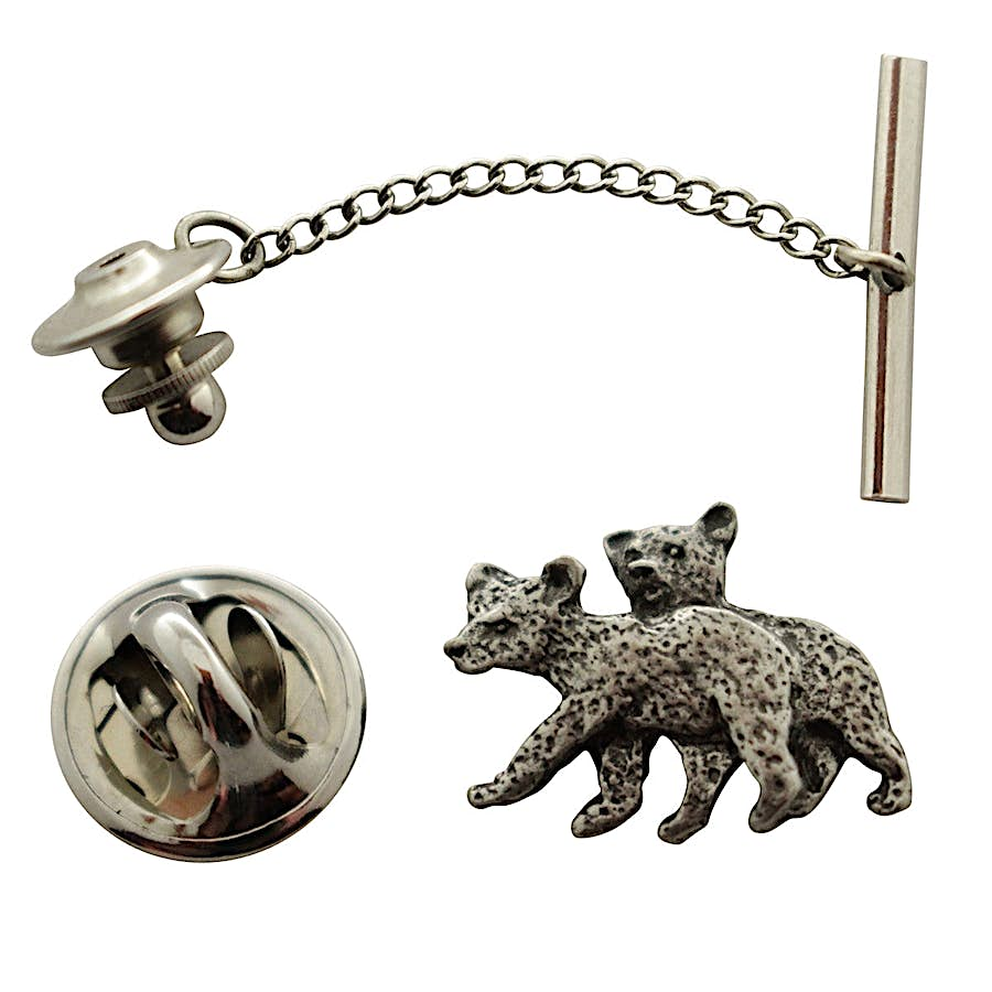 Twin Bear Cub Tie Tack ~ Antiqued Pewter ~ Tie Tack or Pin ~ Sarah's Treats & Treasures
