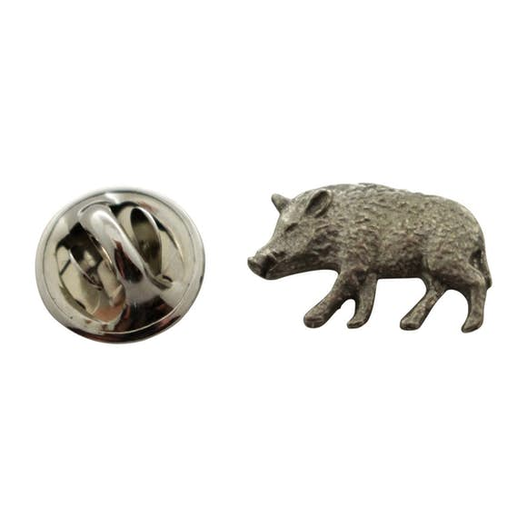 Wild Boar Mini Pin ~ Antiqued Pewter ~ Miniature Lapel Pin ~ Sarah's Treats & Treasures