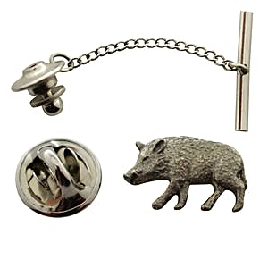 Wild Boar Tie Tack ~ Antiqued Pewter ~ Tie Tack or Pin ~ Antiqued Pewter Tie Tack or Pin ~ Sarah's Treats & Treasures