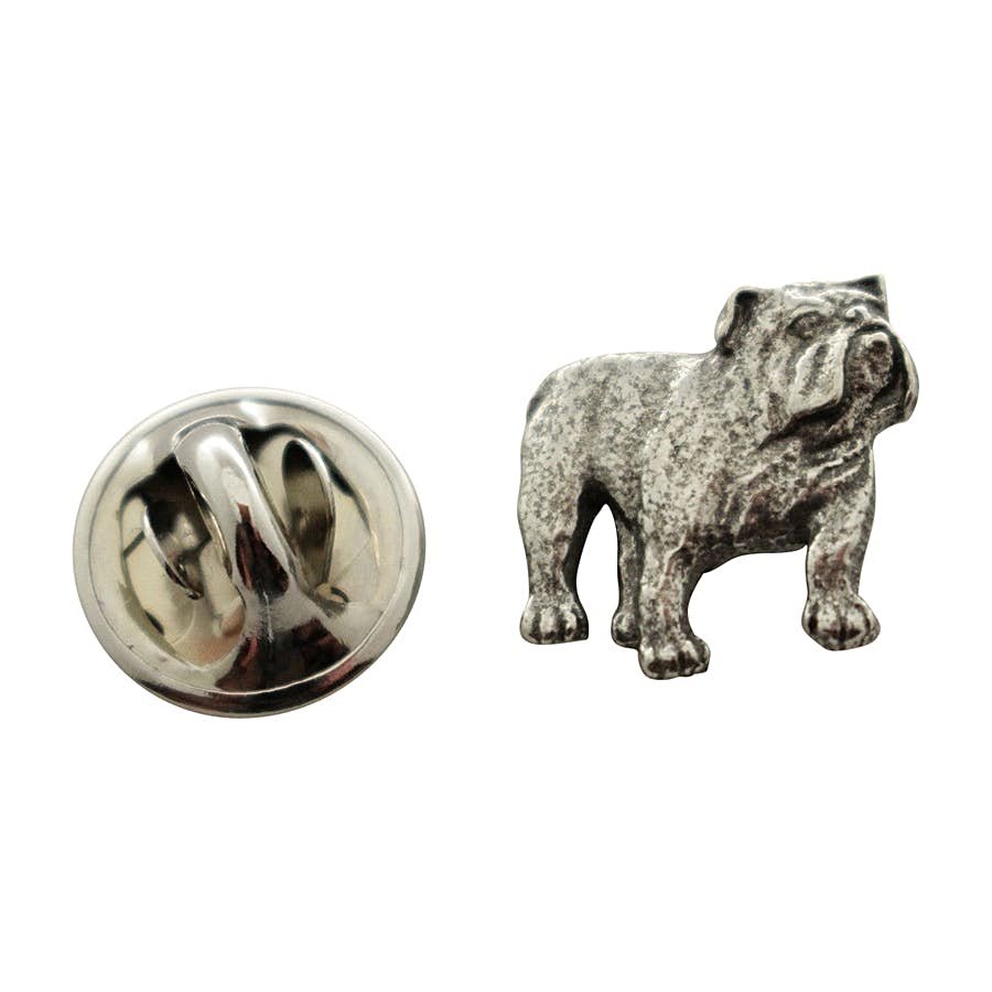 Bulldog Mini Pin ~ Antiqued Pewter ~ Miniature Lapel Pin ~ Antiqued Pewter Miniature Lapel Pin ~ Sarah's Treats & Treasures