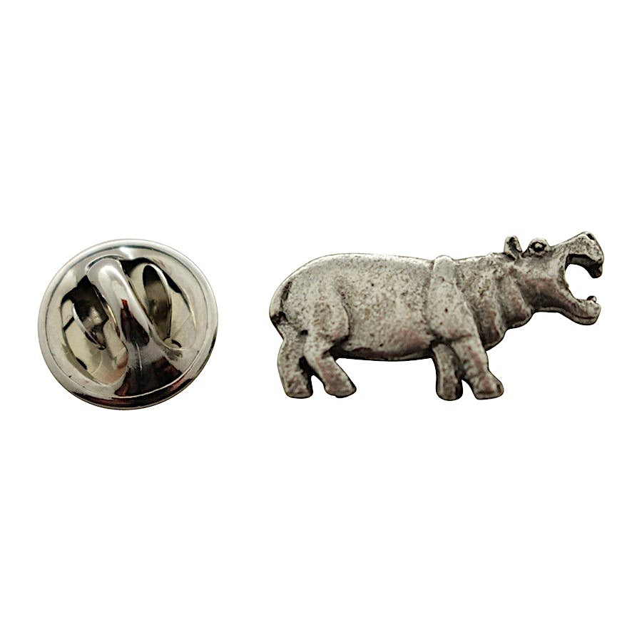 Hippopotamus or Hippo Mini Pin ~ Antiqued Pewter ~ Miniature Lapel Pin ~ Sarah's Treats & Treasures