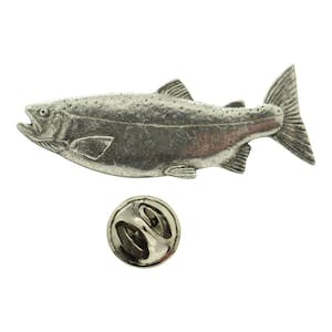 Female Coho or Silver Salmon Pin ~ Antiqued Pewter ~ Lapel Pin ~ Sarah's Treats & Treasures