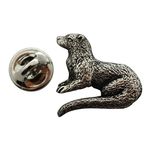 Otter Pin ~ Antiqued Pewter ~ Lapel Pin ~ Sarah's Treats & Treasures