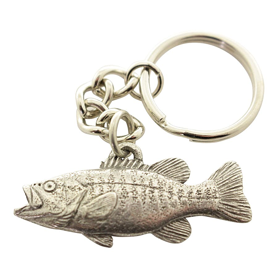 Smallmouth Bass Keychain ~ Antiqued Pewter ~ Keychain ~ Antiqued Pewter Keychain ~ Sarah's Treats & Treasures