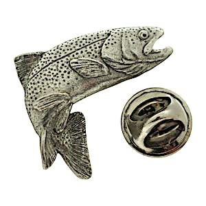 Jumping Rainbow Trout Pin ~ Antiqued Pewter ~ Lapel Pin ~ Sarah's Treats & Treasures