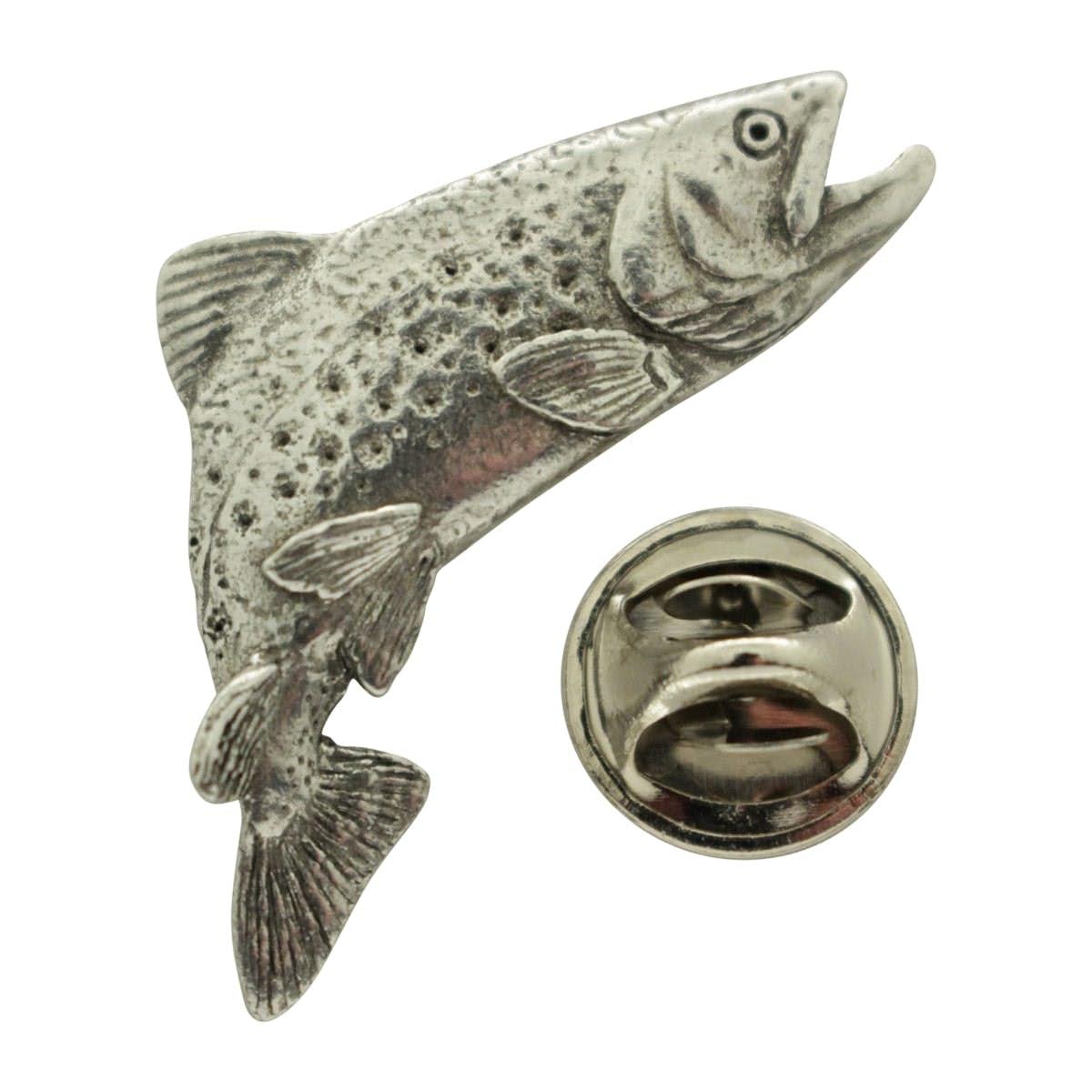 Stunning Leaping Salmon Metal Pin Badge