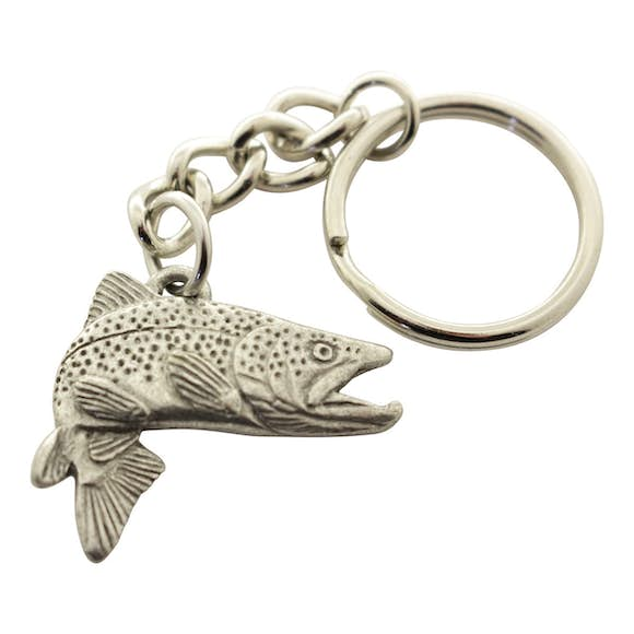 Jumping Brown Trout Keychain ~ Antiqued Pewter ~ Keychain ~ Antiqued Pewter Keychain ~ Sarah's Treats & Treasures