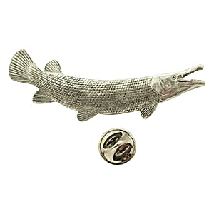 Alligator Gar Pin ~ Antiqued Pewter ~ Lapel Pin ~ Sarah's Treats & Treasures