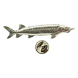 Sturgeon Pin ~ Antiqued Pewter ~ Lapel Pin ~ Sarah's Treats & Treasures