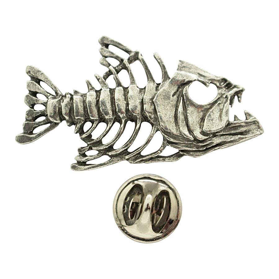 Bony Fish Pin ~ Antiqued Pewter ~ Lapel Pin ~ Sarah's Treats & Treasures