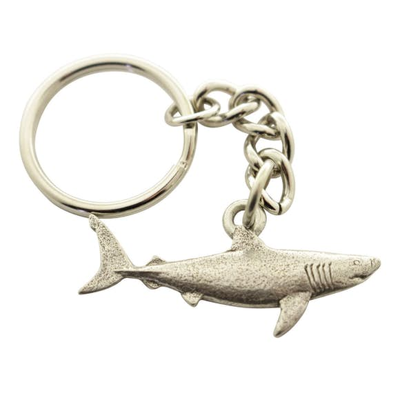 Great White Shark Keychain ~ Antiqued Pewter ~ Keychain ~ Antiqued Pewter Keychain ~ Sarah's Treats & Treasures