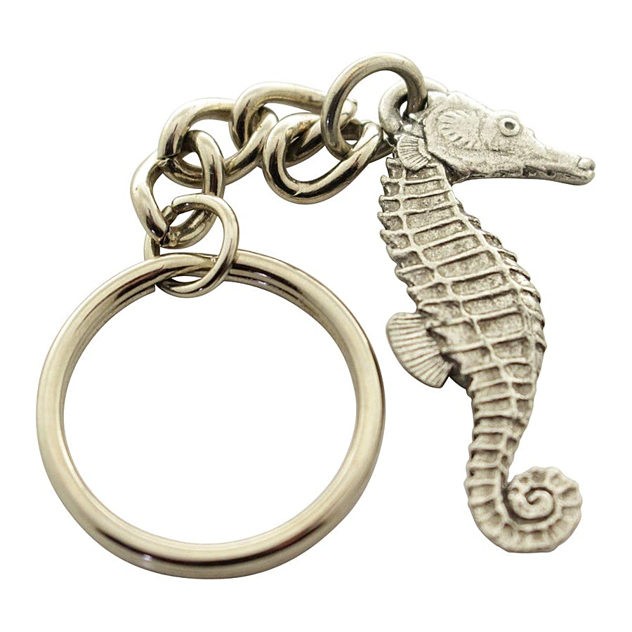 Seahorse Keychain ~ Antiqued Pewter ~ Keychain ~ Antiqued Pewter Keychain ~ Sarah's Treats & Treasures