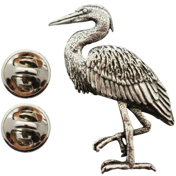 Blue Heron Pin ~ Antiqued Pewter ~ Lapel Pin ~ Sarah's Treats & Treasures