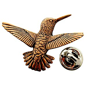 Hummingbird Flying Right Pin ~ Antiqued Copper ~ Lapel Pin ~ Sarah's Treats & Treasures