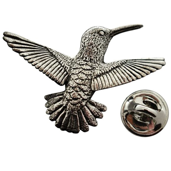 Hummingbird Flying Right Pin ~ Antiqued Pewter ~ Lapel Pin ~ Sarah's Treats & Treasures