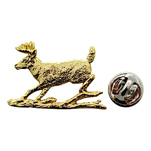 Whitetail Deer and Log Pin ~ 24K Gold ~ Lapel Pin ~ Sarah's Treats & Treasures