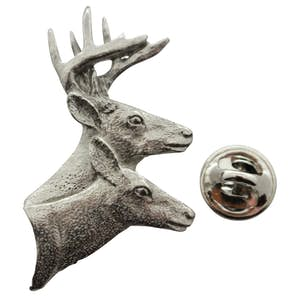 Buck and Doe Head Pin ~ Antiqued Pewter ~ Lapel Pin ~ Sarah's Treats & Treasures