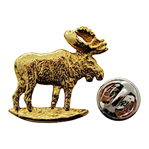 Moose Standing Pin ~ 24K Gold ~ Lapel Pin ~ 24K Gold Lapel Pin ~ Sarah's Treats & Treasures