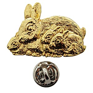 Rabbit with Babies Pin ~ 24K Gold ~ Lapel Pin ~ Sarah's Treats & Treasures