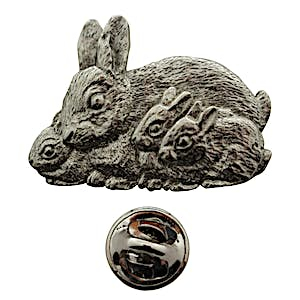 Rabbit Family Pin ~ Antiqued Pewter ~ Lapel Pin ~ Sarah's Treats & Treasures