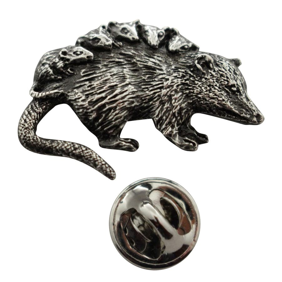 Opossum Pin ~ Antiqued Pewter ~ Lapel Pin ~ Sarah's Treats & Treasures