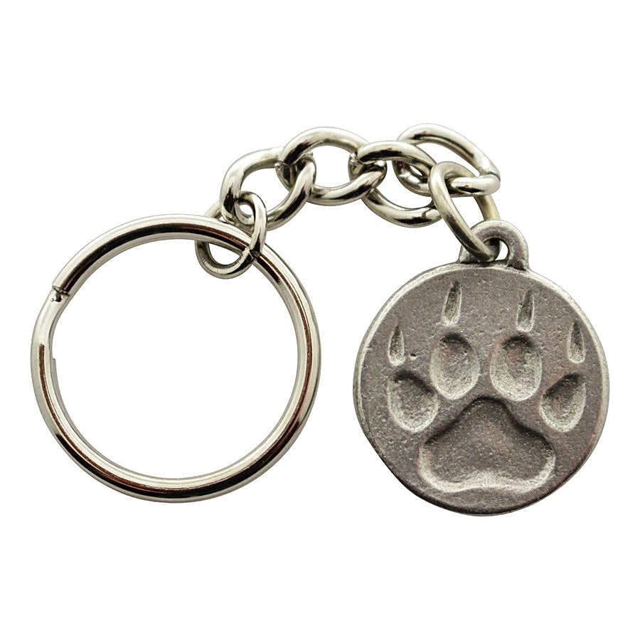 Wolf Track Keychain ~ Antiqued Pewter ~ Keychain ~ Antiqued Pewter Keychain ~ Sarah's Treats & Treasures