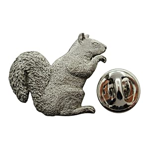 Squirrel Pin ~ Antiqued Pewter ~ Lapel Pin ~ Sarah's Treats & Treasures