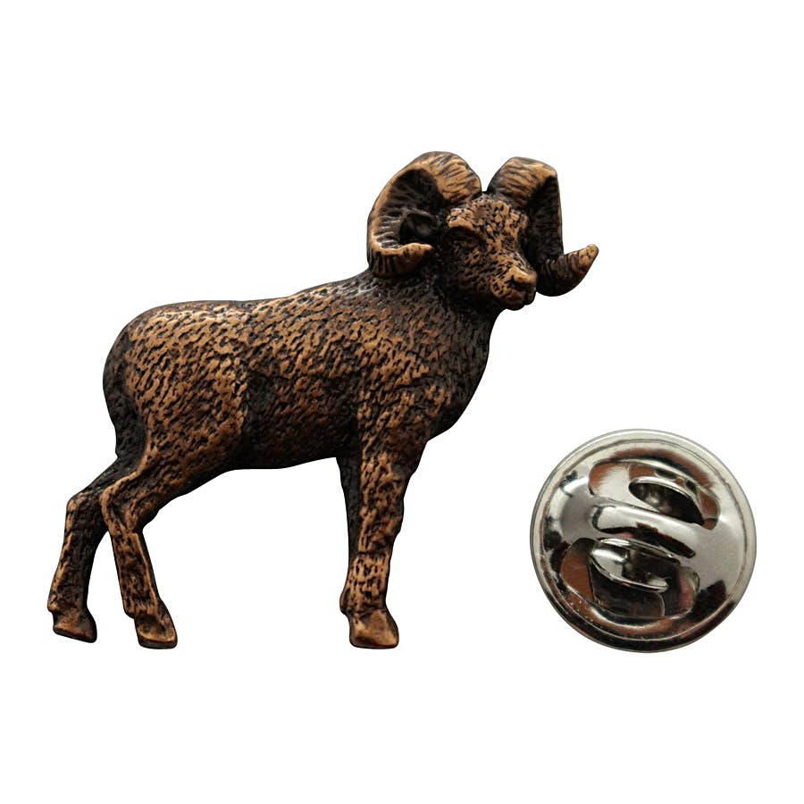 Big Horn Sheep Pin ~ Antiqued Copper ~ Lapel Pin ~ Sarah's Treats & Treasures