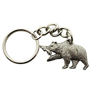 Brown Bear With Salmon Keychain ~ Antiqued Pewter ~ Keychain ~ Sarah's Treats & Treasures