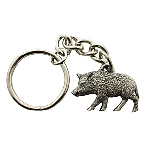 Wild Boar Keychain ~ Antiqued Pewter ~ Keychain ~ Antiqued Pewter Keychain ~ Sarah's Treats & Treasures