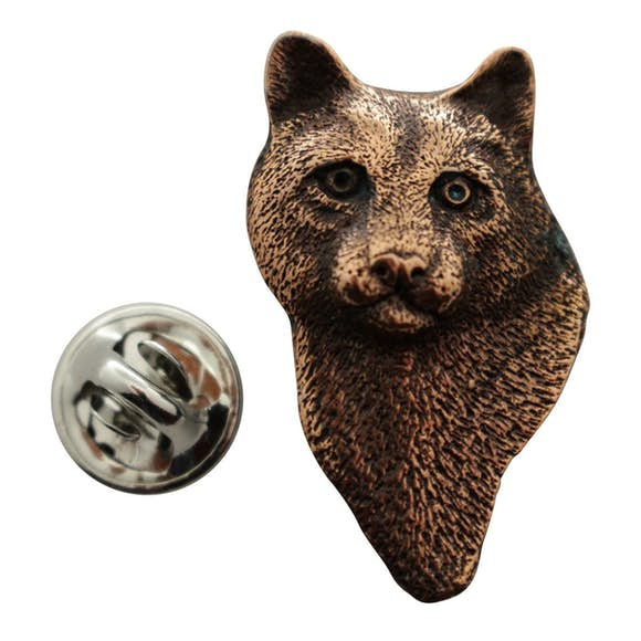 Cougar or Mountain Lion Head Pin ~ Antiqued Copper ~ Lapel Pin ~ Sarah's Treats & Treasures