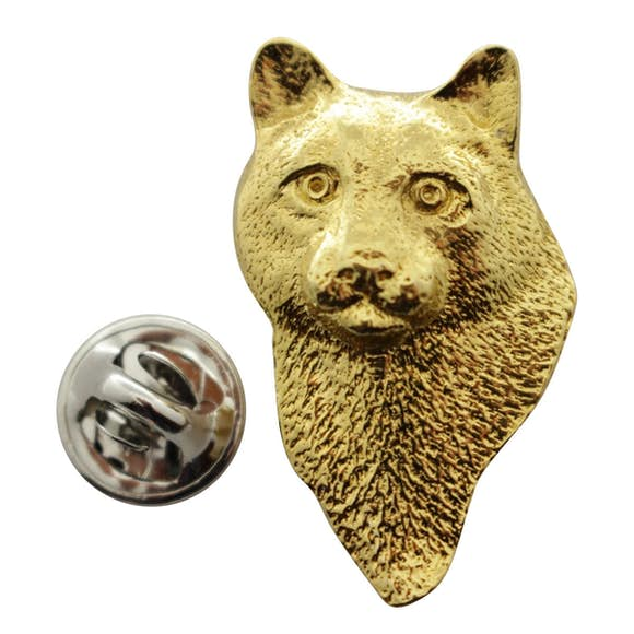 Cougar or Mountain Lion Head Pin ~ 24K Gold ~ Lapel Pin ~ 24K Gold Lapel Pin ~ Sarah's Treats & Treasures