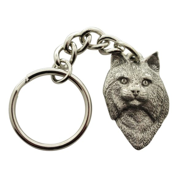 Bobcat Head Keychain ~ Antiqued Pewter ~ Keychain ~ Sarah's Treats & Treasures
