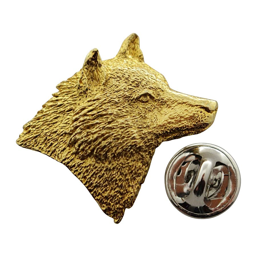 Wolf Head Right Facing ~ 24K Gold ~ Lapel Pin ~ 24K Gold Lapel Pin ~ Sarah's Treats & Treasures