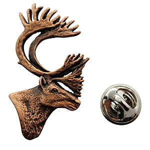 Caribou or Reindeer Head Pin ~ Antiqued Copper ~ Lapel Pin ~ Sarah's Treats & Treasures