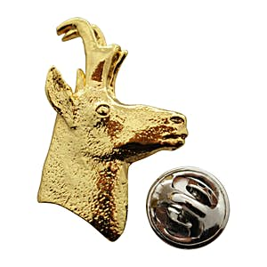 Pronghorn Head Pin ~ 24K Gold ~ Lapel Pin ~ 24K Gold Lapel Pin ~ Sarah's Treats & Treasures