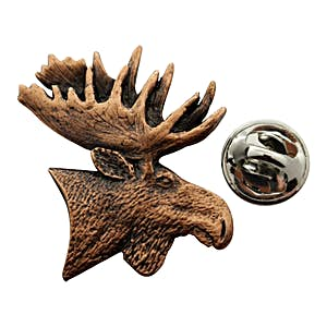 Moose Head Pin ~ Antiqued Copper ~ Lapel Pin ~ Sarah's Treats & Treasures