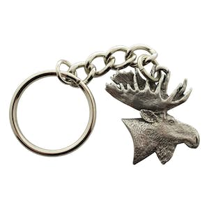 Moose Head Keychain ~ Antiqued Pewter ~ Keychain ~ Antiqued Pewter Keychain ~ Sarah's Treats & Treasures