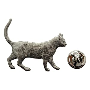 Walking Cat Pin ~ Antiqued Pewter ~ Lapel Pin ~ Sarah's Treats & Treasures