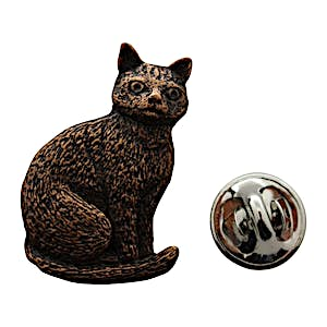 Cat Sitting Pin ~ Antiqued Copper ~ Lapel Pin ~ Sarah's Treats & Treasures